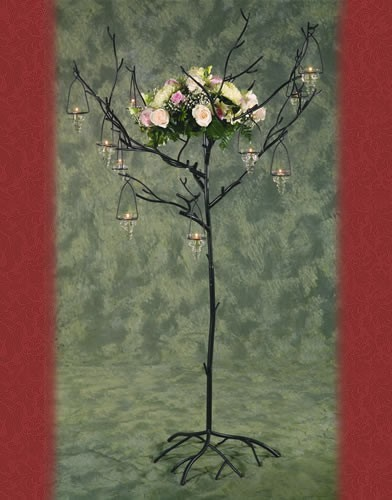 WS 87  BASE: 24 •HEIGHT: 64 Iron Tree Candle  Holder