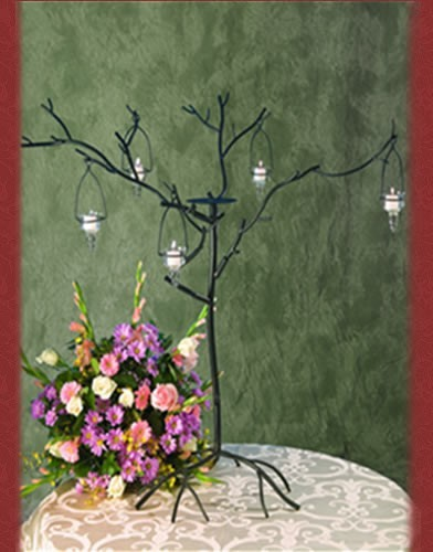 WS84 BASE: 24•HEIGHT: 49 Iron Tree Candle  Holder