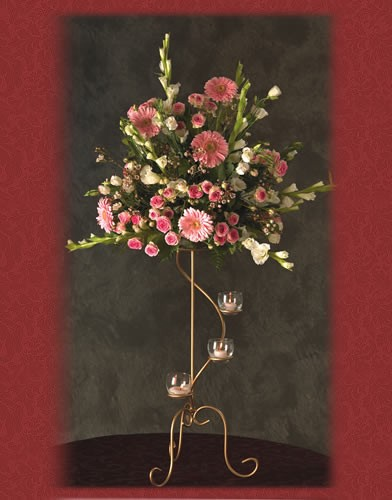 WS 37 Base : 12 Height : 27 Wrought Iron Gold Spiral Candelabra
