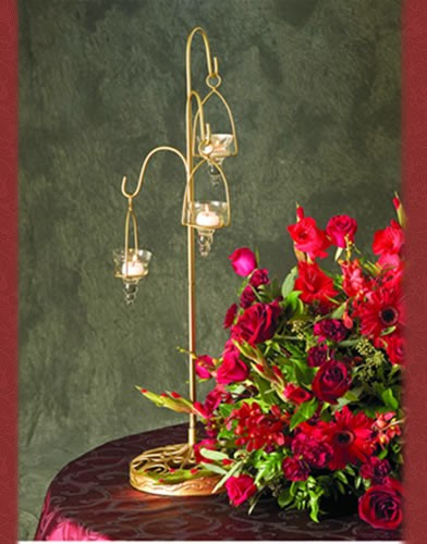 WS 61 BASE: 8 Sq. •HEIGHT:30 Gold Candle Holder
