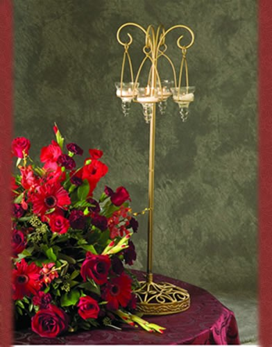 WS 59 BASE: 8 Sq.•HEIGHT : 30 Gold Candle Holder