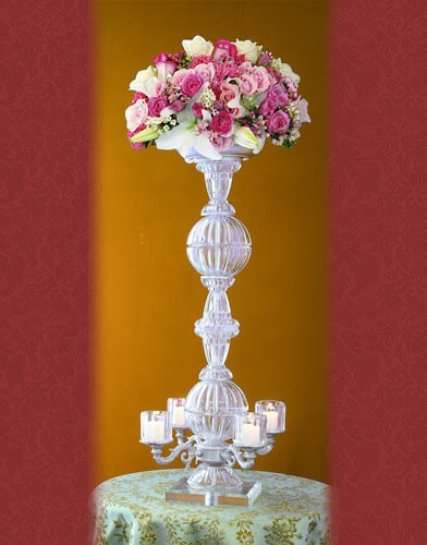CS 32-B BASE:7 • HEIGHT:29 Crystal Candelabra 4 Votive Candles