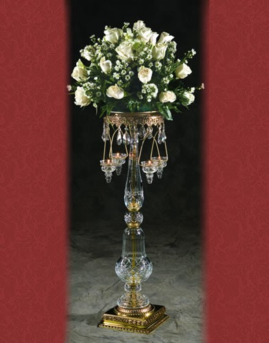 RC 51 BASE:9•HEIGHT:34  Hand cut crystal Candelabra