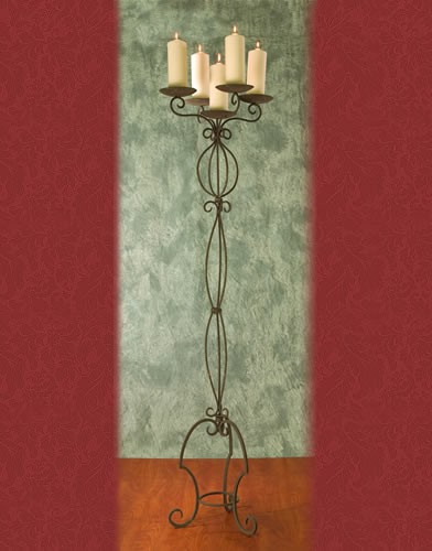 WS 50 BASE:16•HEIGHT:71 Iron Aisle Candelabra 5 Pillar Candles