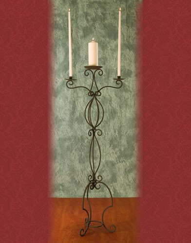 WS 52 BASE:18•HEIGHT:53  Iron  Aisle  Candelabra 3 Candles