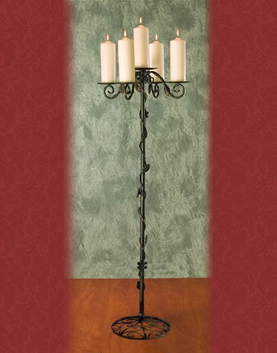 WS 100 BASE:12•HEIGHT:54 Iron Aisle Candelabra 5 Pillar Candles