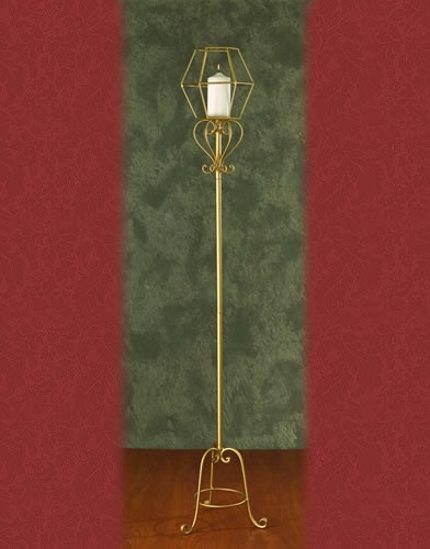 WS 97 BASE:12•HEIGHT:65  Iron Aisle Candelabra 1 Pillar Candle