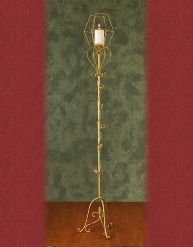 WS 96 BASE:13•HEIGHT:71 Iron Aisle Candelabra 1 Pillar Candle