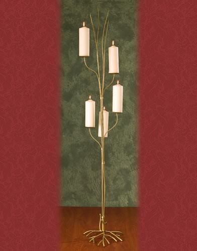 WS 94BASE:14•HEIGHT:72  Iron Aisle Candelabra 5 Pillar Candles