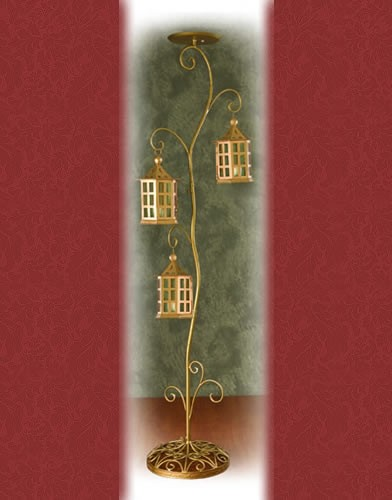 WS 63 BASE:18•HEIGHT:72 Iron Aisle Candelabra 3 Pillar Candles