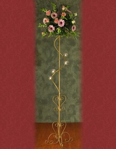 WSF 41 BASE:12•HEIGHT:70 Iron Aisle Candelabra 4 Spiral Candles
