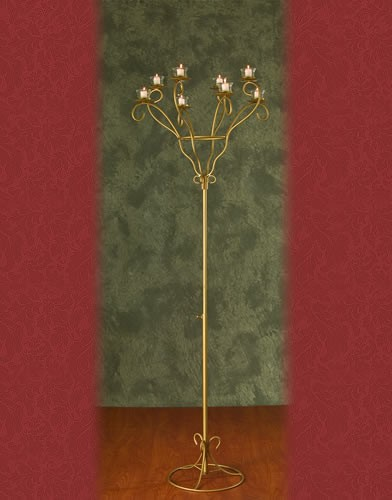 WSF 42 BASE:12•HEIGHT:64 Iron Aisle Candelabra 8 Votive Candles