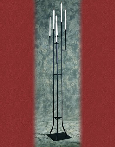 WS 111 BASE:12•HEIGHT:71Iron Aisle  Candelabra 6 Candles