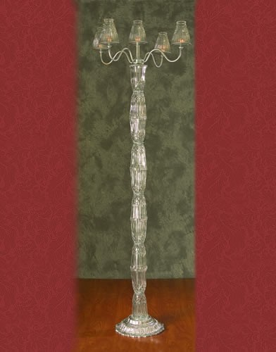 CS 100 BASE:12•HEIGHT:72 Crystal Aisle Candelabra 5Pillar Candle