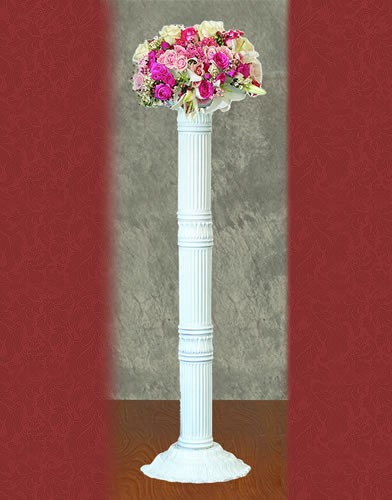PH 48 BASE:12•HEIGHT:42 Zinc Metal Flower Stand In White