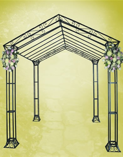 Chuppah3 WIDTH:104HT:106 HEIGHT OF POLES:84 Iron Black Finish