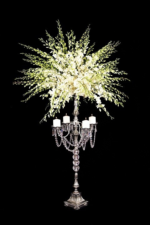 MS300 Modern Crystal and Silver Candelabra 40.5