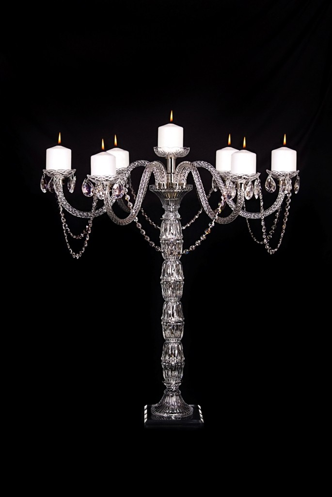 FS600 Crystal Candelabra with six arms. Seven pillar candles.