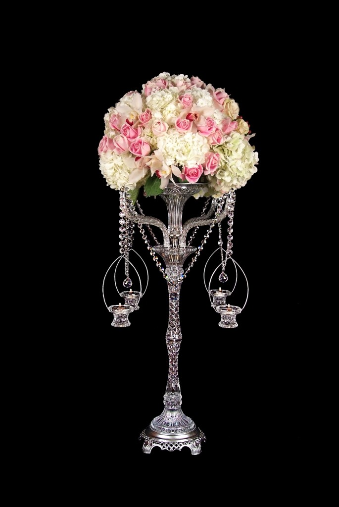 DHC75 Crystal flowerstand with candle baskets.  35